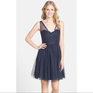 Monique Lhuiller Bridesmaid Navy Fit & Flare Dress
